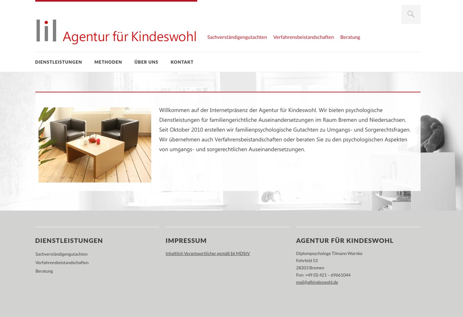 Verlinkter Screenshot Agentur für Kindeswohl Bremen