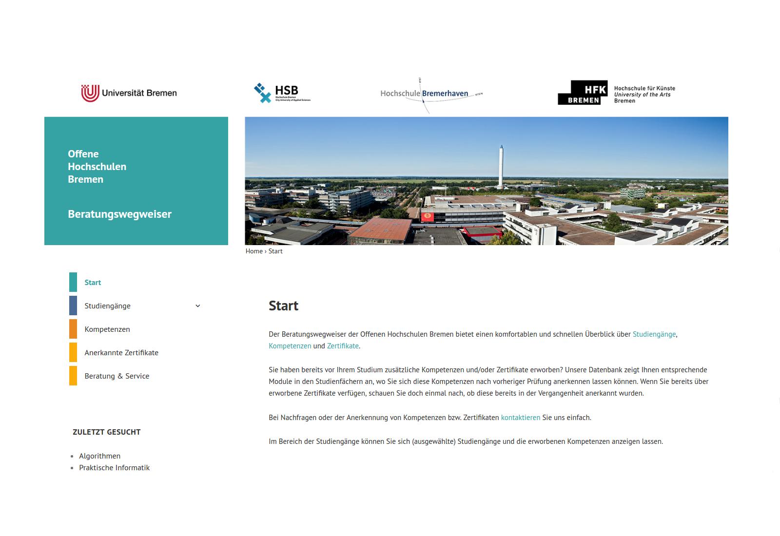 Screenshot Beratungswegweiser Offene Hochschulen Bremen