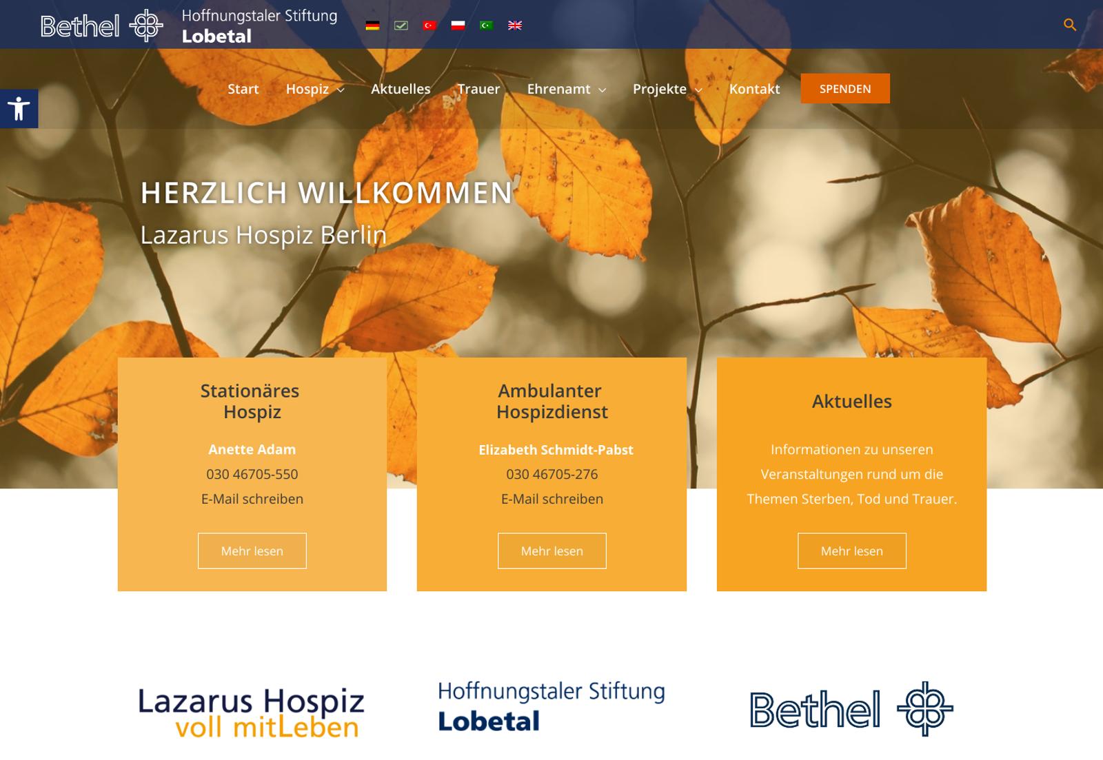 Verlinkter Screenshot Lazarus Hospiz Berlin