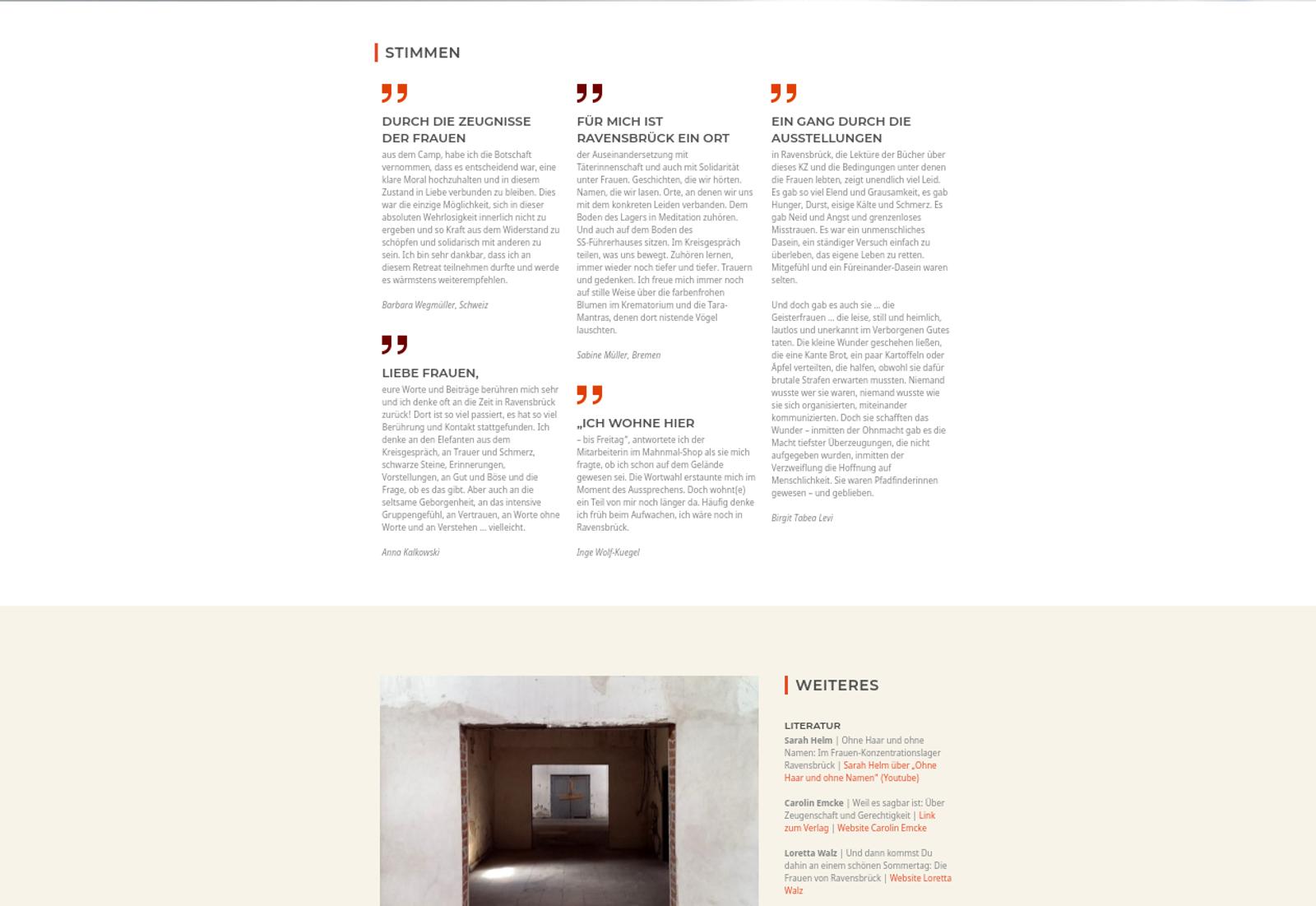 Verlinkter Screenshot Website Ravensbrück-Retreat